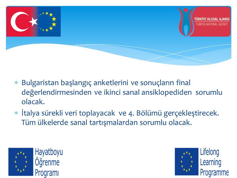  Bulgaristan başlangıç anketlerini ve sonuçların final değerlendirmesinden ve ikinci sanal ansiklopediden sorumlu olacak.  İtalya sürekli veri topla