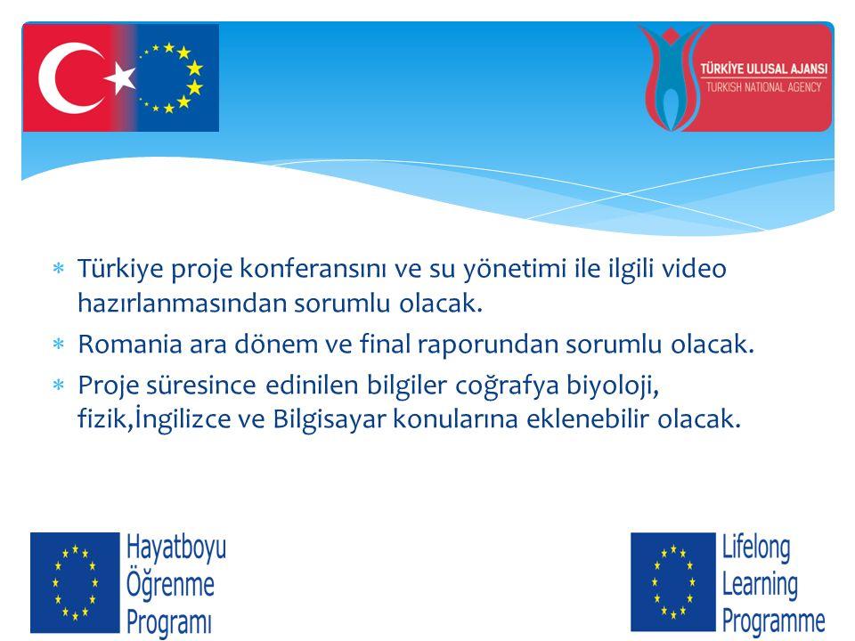  Türkiye proje konferansını ve su yönetimi ile ilgili video hazırlanmasından sorumlu olacak.  Romania ara dönem ve final raporundan sorumlu olacak.