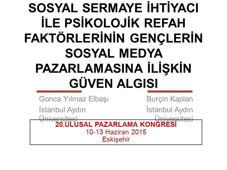 SOSYAL SERMAYE İHTİYACI İLE PSİKOLOJİK REFAH FAKTÖRLERİNİN GENÇLERİN SOSYAL MEDYA PAZARLAMASINA İLİŞKİN GÜVEN ALGISI Gonca Yılmaz Elbaşı İstanbul Aydı