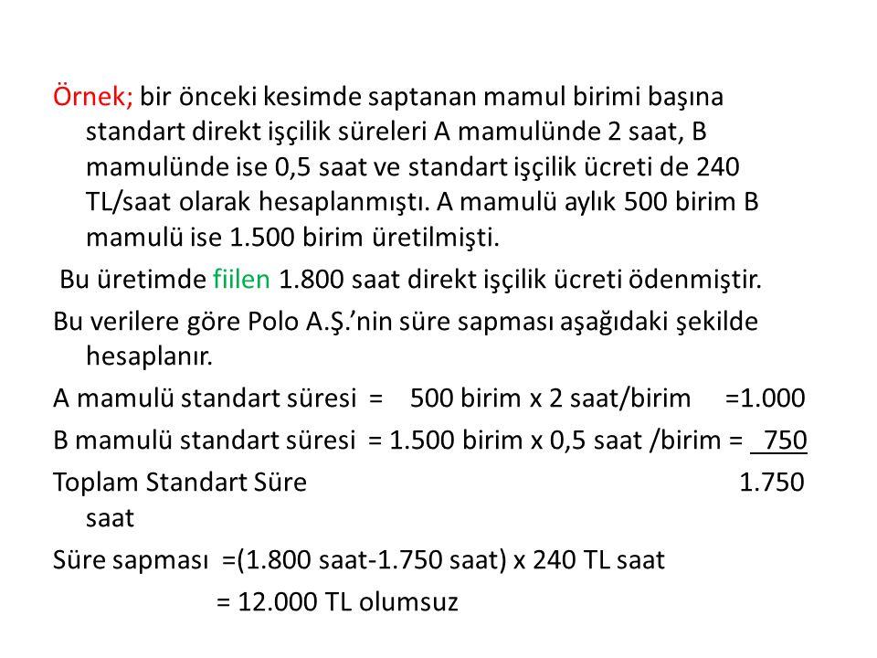 Örnek; bir önceki kesimde saptanan mamul birimi başına standart direkt işçilik süreleri A mamulünde 2 saat, B mamulünde ise 0,5 saat ve standart işçilik ücreti de 240 TL/saat olarak hesaplanmıştı.