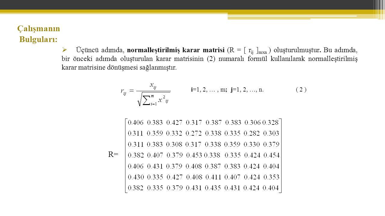 Çalışmanın Bulguları:  Üçüncü adımda, normalleştirilmiş karar matrisi (R = [ r ij ] mxn ) oluşturulmuştur.