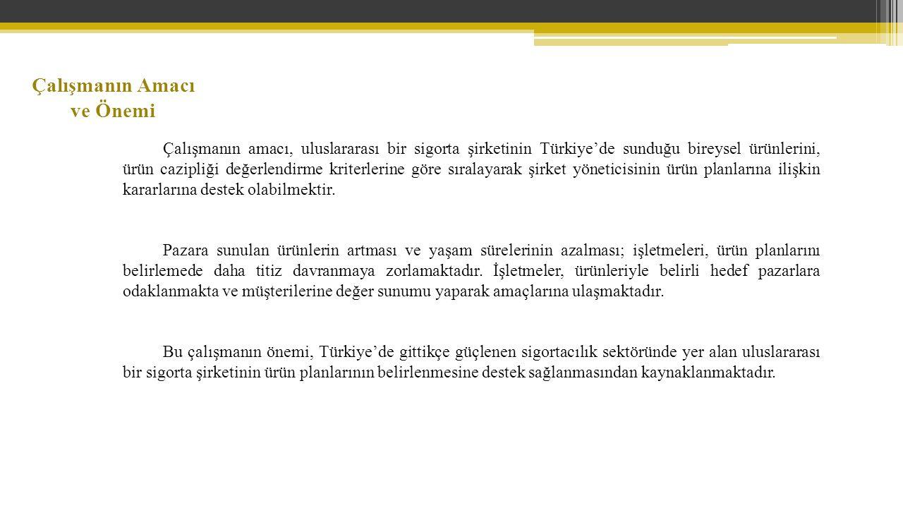 Çalışmanın amacı, uluslararası bir sigorta şirketinin Türkiye'de sunduğu bireysel ürünlerini, ürün cazipliği değerlendirme kriterlerine göre sıralayarak şirket yöneticisinin ürün planlarına ilişkin kararlarına destek olabilmektir.