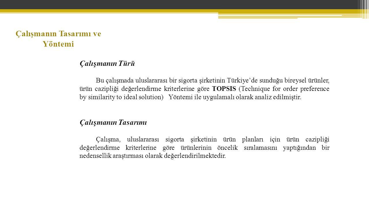 Çalışmanın Tasarımı ve Yöntemi Çalışmanın Türü Bu çalışmada uluslararası bir sigorta şirketinin Türkiye'de sunduğu bireysel ürünler, ürün cazipliği değerlendirme kriterlerine göre TOPSIS (Technique for order preference by similarity to ideal solution) Yöntemi ile uygulamalı olarak analiz edilmiştir.