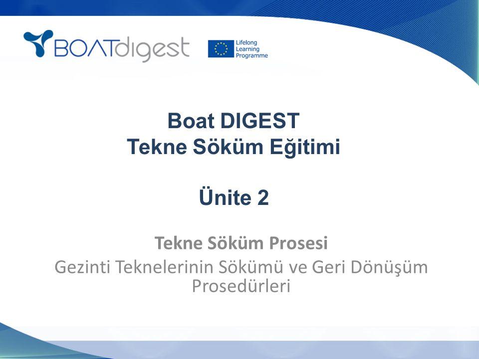 Boat DIGEST Tekne Söküm Eğitimi Ünite 2 Tekne Söküm Prosesi Gezinti Teknelerinin Sökümü ve Geri Dönüşüm Prosedürleri