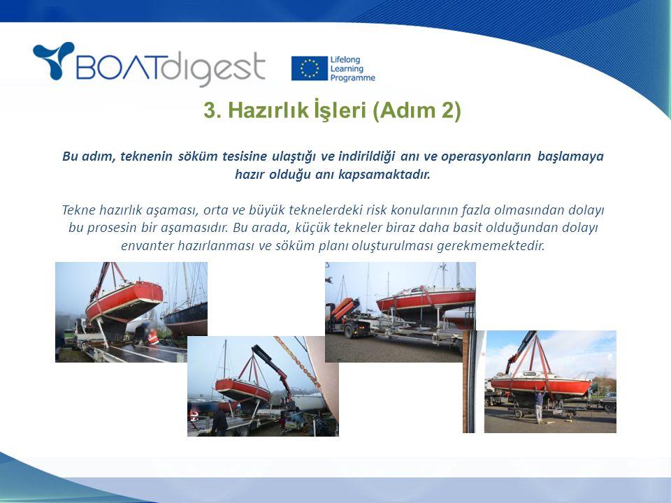 3. Hazırlık İşleri (Adım 2) Bu adım, teknenin söküm tesisine ulaştığı ve indirildiği anı ve operasyonların başlamaya hazır olduğu anı kapsamaktadır. T