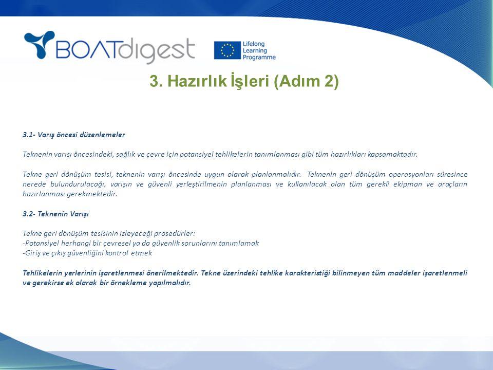 3.1- Varış öncesi düzenlemeler Teknenin varışı öncesindeki, sağlık ve çevre için potansiyel tehlikelerin tanımlanması gibi tüm hazırlıkları kapsamaktadır.