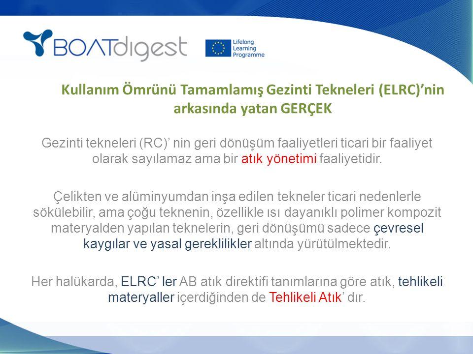Kullanım Ömrünü Tamamlamış Gezinti Tekneleri (ELRC)'nin arkasında yatan GERÇEK Gezinti tekneleri (RC)' nin geri dönüşüm faaliyetleri ticari bir faaliyet olarak sayılamaz ama bir atık yönetimi faaliyetidir.