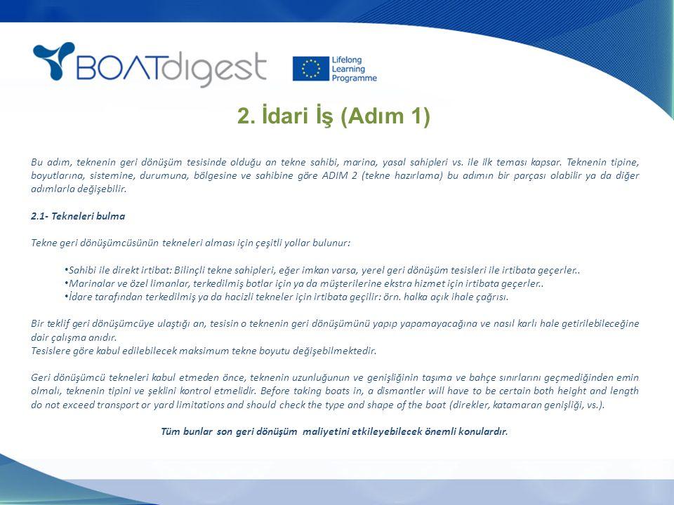 2. İdari İş (Adım 1) Bu adım, teknenin geri dönüşüm tesisinde olduğu an tekne sahibi, marina, yasal sahipleri vs. ile ilk teması kapsar. Teknenin tipi