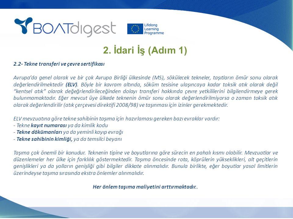 2.2- Tekne transferi ve çevre sertifikası Avrupa'da genel olarak ve bir çok Avrupa Birliği ülkesinde (MS), sökülecek tekneler, taşıtların ömür sonu ol