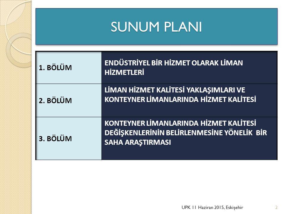Liman Hizmet Kalitesi De ğ işkenlerine İ lişkin Faktör Analizi 8 boyut ve 29 liman hizmet kalitesi de ğ işkeni Liman hizmetlerinin her koşulda tutarlı bir şekilde verilmesi (0,452 anti- imaj de ğ eri) Liman hizmet tarifelerinin uygunlu ğ u (0,442 anti imaj) Fiziksel altyapının yeterlili ğ i (0,468 anti-imaj de ğ eri) 6 boyut ve 32 liman hizmet kalitesi de ğ işkeni UPK 11 Haziran 2015, Eskişehir33