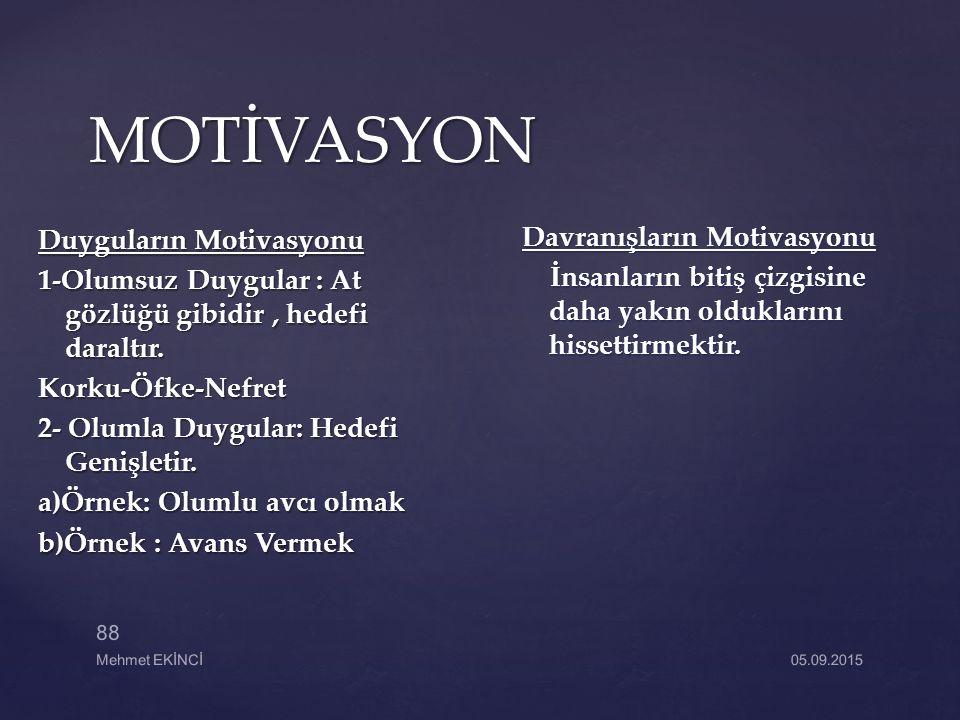 MOTİVASYON Duyguların Motivasyonu 1-Olumsuz Duygular : At gözlüğü gibidir, hedefi daraltır. Korku-Öfke-Nefret 2- Olumla Duygular: Hedefi Genişletir. a