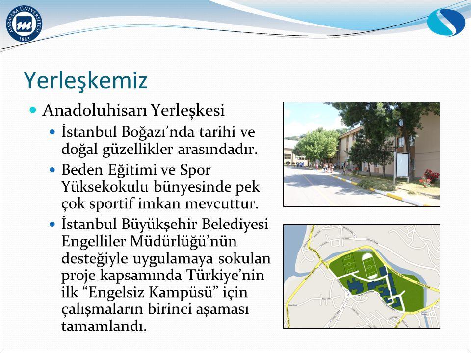 Yerleşkemiz Anadoluhisarı Yerleşkesi İstanbul Boğazı'nda tarihi ve doğal güzellikler arasındadır. Beden Eğitimi ve Spor Yüksekokulu bünyesinde pek çok