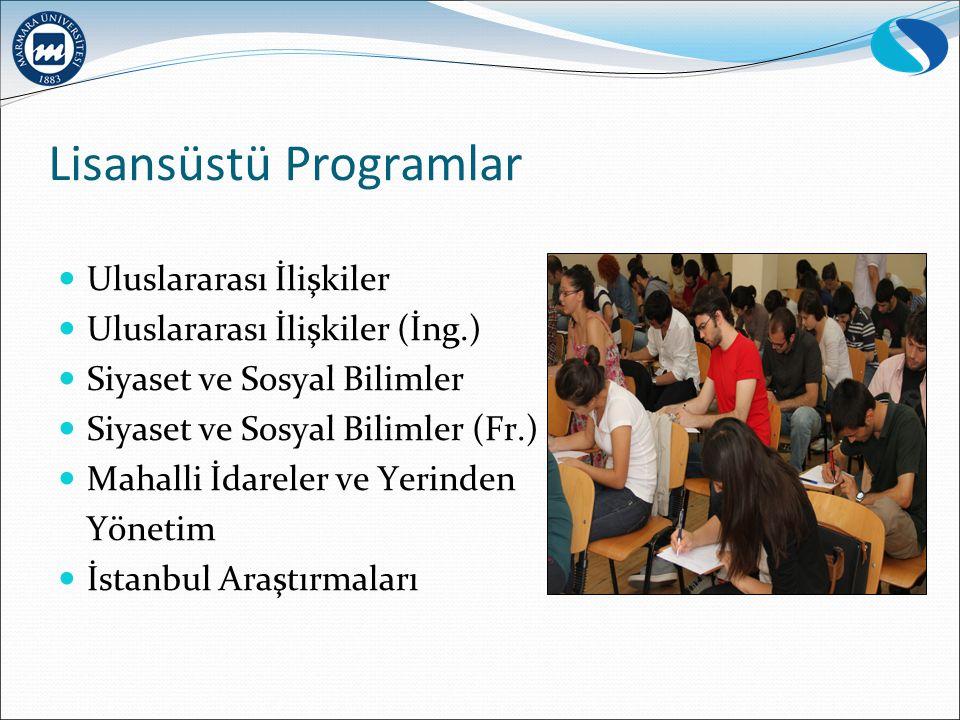 Lisansüstü Programlar Uluslararası İlişkiler Uluslararası İlişkiler (İng.) Siyaset ve Sosyal Bilimler Siyaset ve Sosyal Bilimler (Fr.) Mahalli İdarele