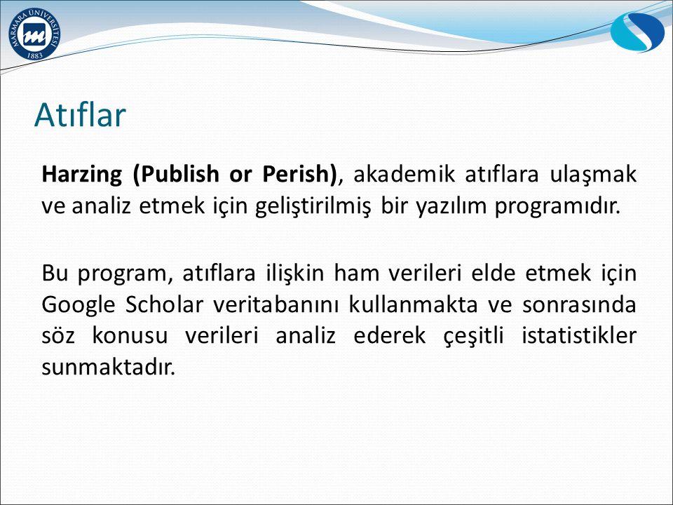 Atıflar Harzing (Publish or Perish), akademik atıflara ulaşmak ve analiz etmek için geliştirilmiş bir yazılım programıdır. Bu program, atıflara ilişki