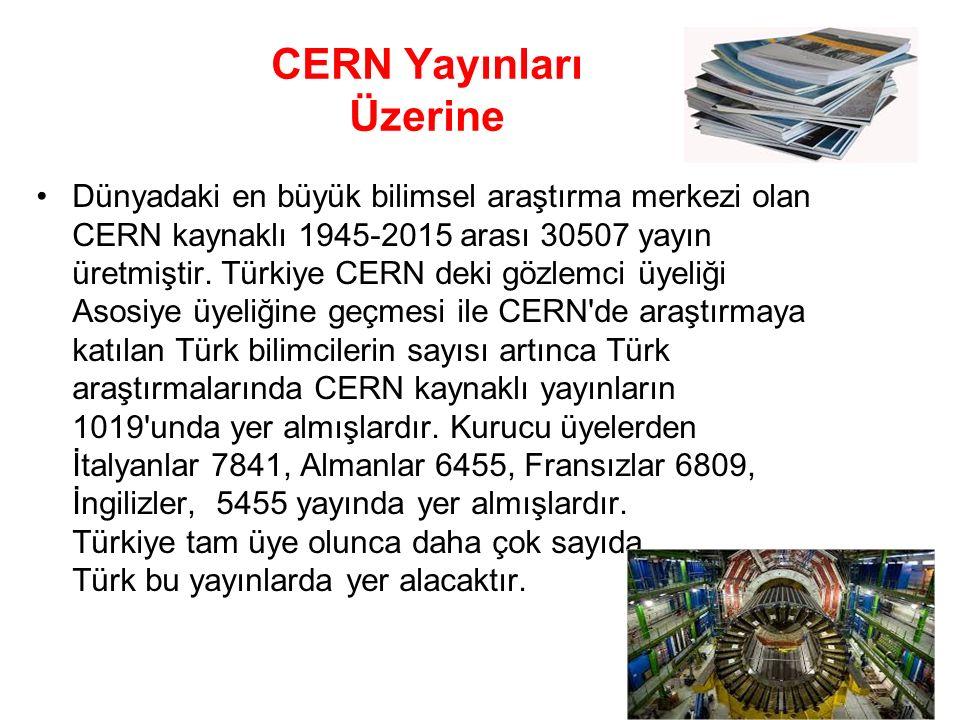 CERN Yayınları Üzerine Dünyadaki en büyük bilimsel araştırma merkezi olan CERN kaynaklı 1945-2015 arası 30507 yayın üretmiştir. Türkiye CERN deki gözl