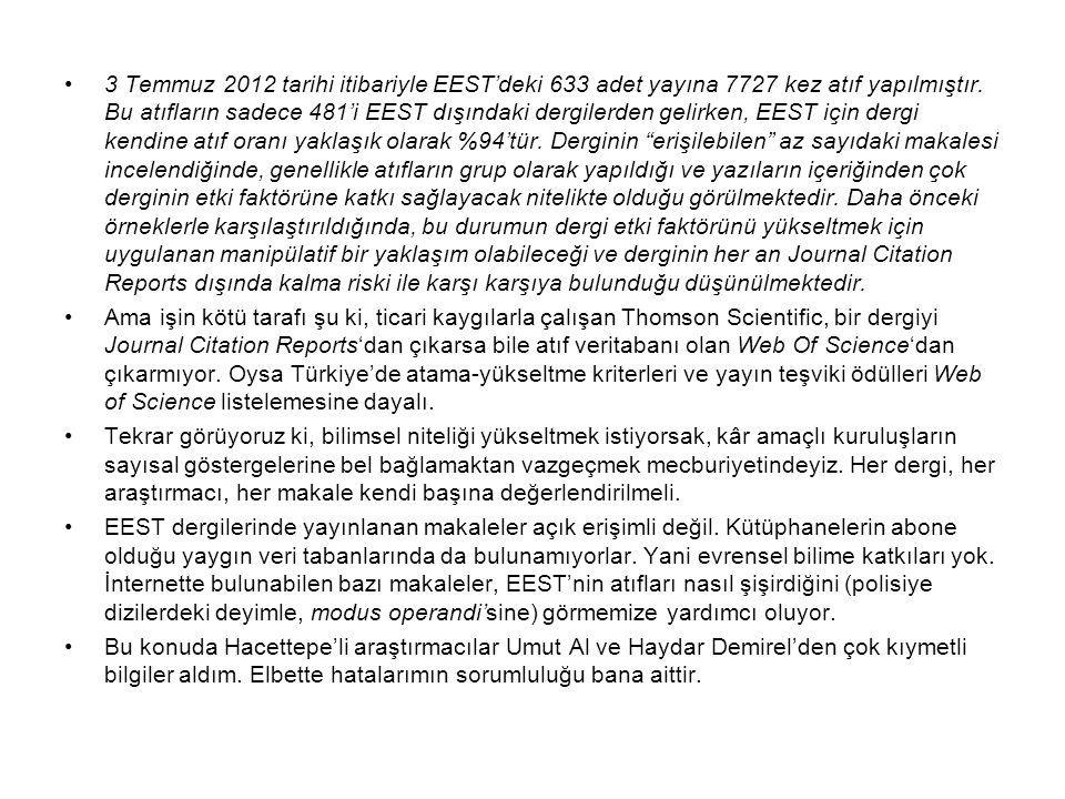 3 Temmuz 2012 tarihi itibariyle EEST'deki 633 adet yayına 7727 kez atıf yapılmıştır. Bu atıfların sadece 481'i EEST dışındaki dergilerden gelirken, EE