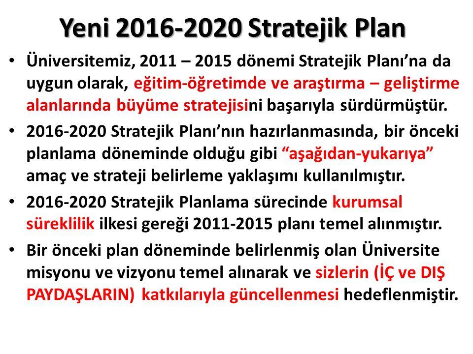 Yeni 2016-2020 Stratejik Plan Üniversitemiz, 2011 – 2015 dönemi Stratejik Planı'na da uygun olarak, eğitim-öğretimde ve araştırma – geliştirme alanlar