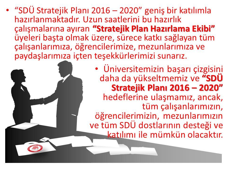 """""""Stratejik Plan Hazırlama Ekibi"""" """"SDÜ Stratejik Planı 2016 – 2020"""" geniş bir katılımla hazırlanmaktadır. Uzun saatlerini bu hazırlık çalışmalarına ayı"""