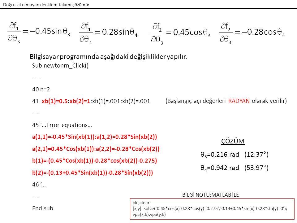 Doğrusal olmayan denklem takımı çözümü: Newton-Raphson Örnek 5: Şekildeki Krank-Biyel mekanizması için aşağıdaki konum denklemleri yazılabilir (5.