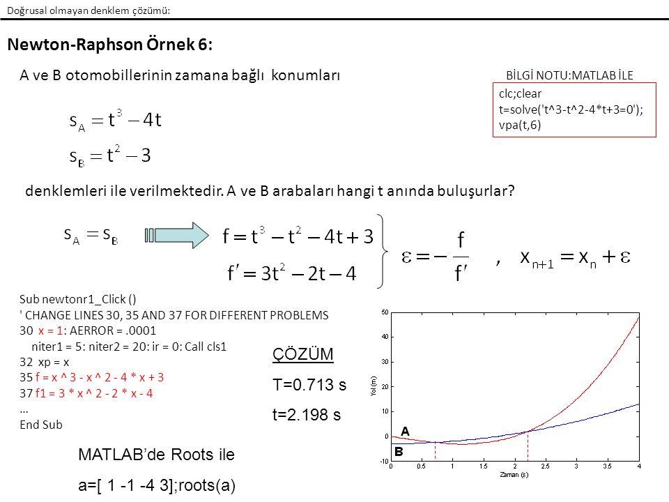 Newton-Raphson Örnek 6: Doğrusal olmayan denklem çözümü: A ve B otomobillerinin zamana bağlı konumları denklemleri ile verilmektedir.