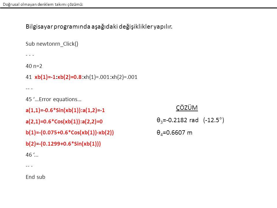Bilgisayar programında aşağıdaki değişiklikler yapılır. Sub newtonrn_Click() - - - 40 n=2 41 xb(1)=-1:xb(2)=0.8:xh(1)=.001:xh(2)=.001 -- - 45 '…Error