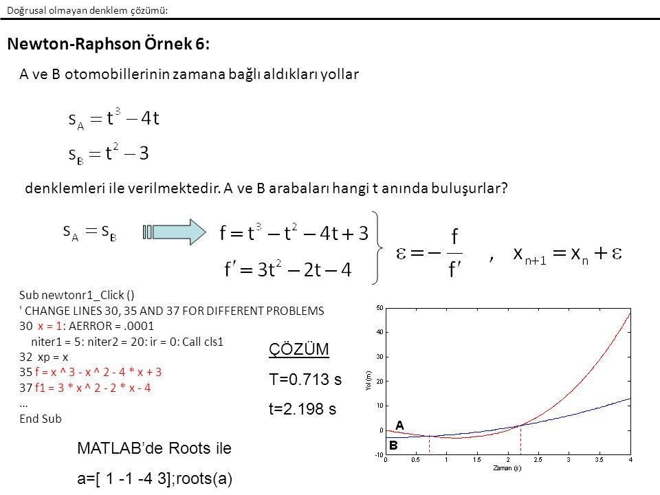 Newton-Raphson Örnek 6: Doğrusal olmayan denklem çözümü: A ve B otomobillerinin zamana bağlı aldıkları yollar denklemleri ile verilmektedir. A ve B ar