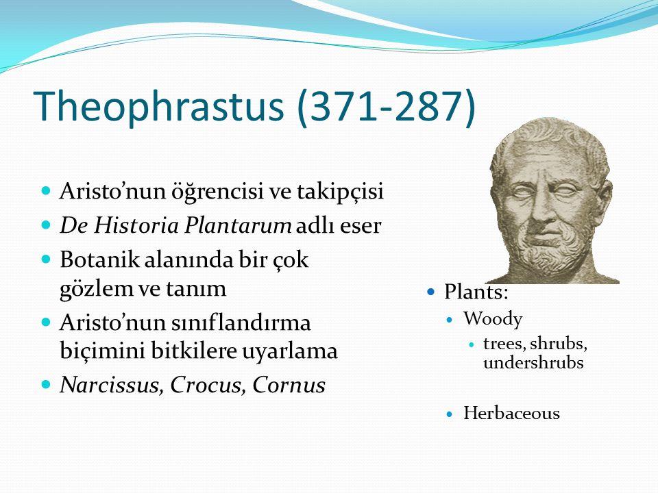Theophrastus (371-287) Aristo'nun öğrencisi ve takipçisi De Historia Plantarum adlı eser Botanik alanında bir çok gözlem ve tanım Aristo'nun sınıfland