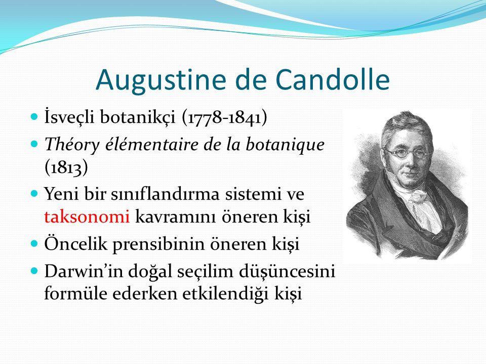 Augustine de Candolle İsveçli botanikçi (1778-1841) Théory élémentaire de la botanique (1813) Yeni bir sınıflandırma sistemi ve taksonomi kavramını ön