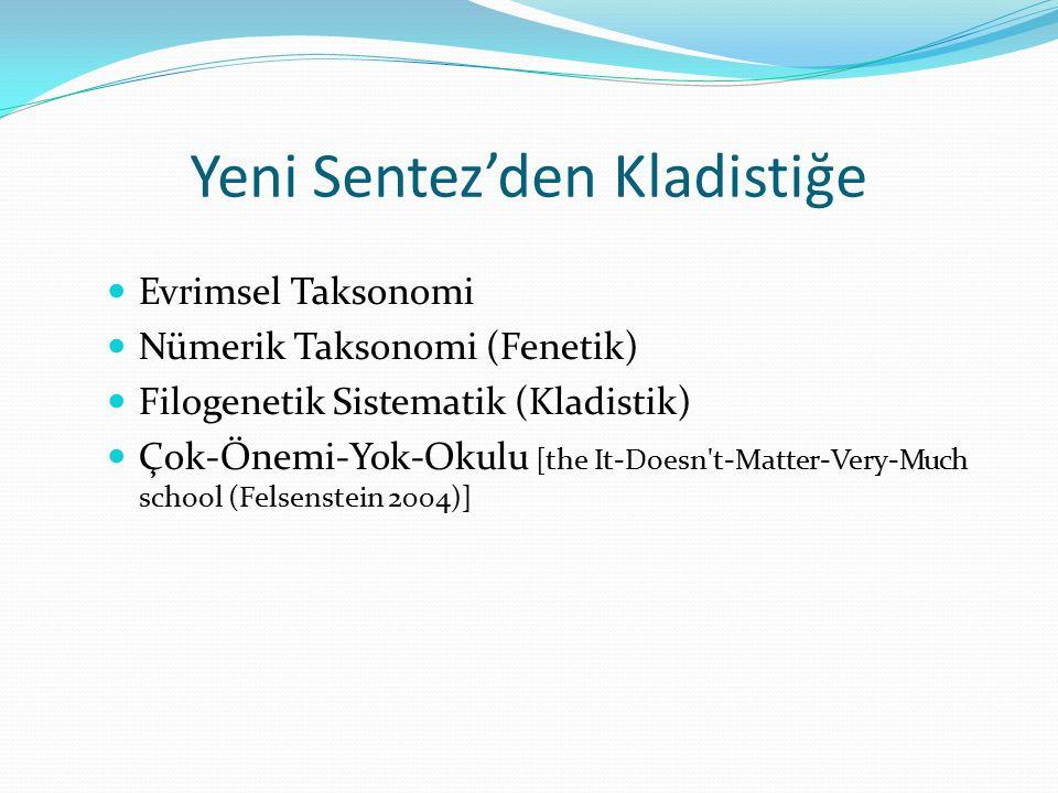 Yeni Sentez'den Kladistiğe Evrimsel Taksonomi Nümerik Taksonomi (Fenetik) Filogenetik Sistematik (Kladistik) Çok-Önemi-Yok-Okulu [the It-Doesn't-Matte