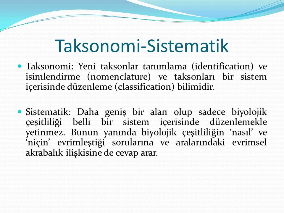 Taksonomi-Sistematik Taksonomi: Yeni taksonlar tanımlama (identification) ve isimlendirme (nomenclature) ve taksonları bir sistem içerisinde düzenleme