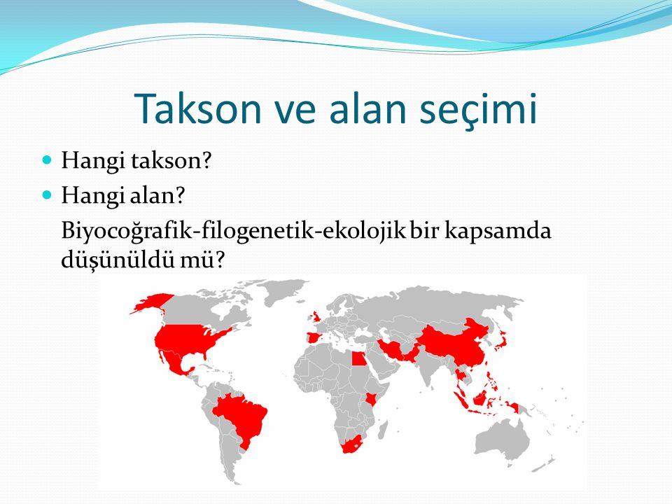 Takson ve alan seçimi Hangi takson? Hangi alan? Biyocoğrafik-filogenetik-ekolojik bir kapsamda düşünüldü mü?