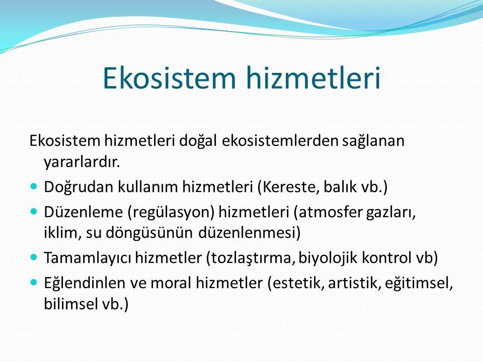 Ekosistem hizmetleri Ekosistem hizmetleri doğal ekosistemlerden sağlanan yararlardır. Doğrudan kullanım hizmetleri (Kereste, balık vb.) Düzenleme (reg