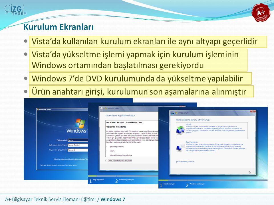 A+ Bilgisayar Teknik Servis Elemanı Eğitimi / Windows 7 Kurulum Ekranları Vista'da kullanılan kurulum ekranları ile aynı altyapı geçerlidir Vista'da y