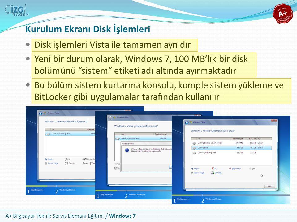 A+ Bilgisayar Teknik Servis Elemanı Eğitimi / Windows 7 Kurulum Ekranı Disk İşlemleri Disk işlemleri Vista ile tamamen aynıdır Yeni bir durum olarak,