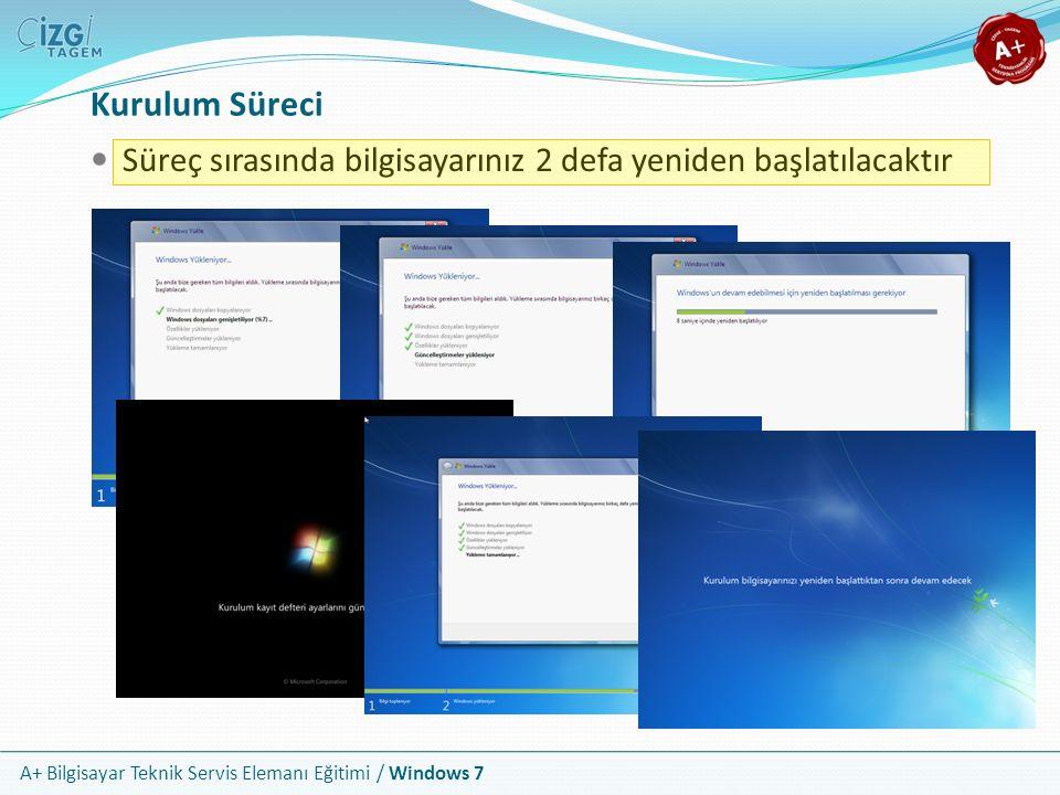 A+ Bilgisayar Teknik Servis Elemanı Eğitimi / Windows 7 Kurulum Süreci Süreç sırasında bilgisayarınız 2 defa yeniden başlatılacaktır