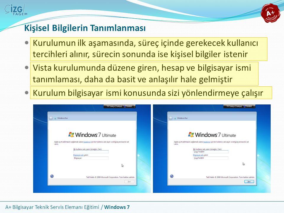 A+ Bilgisayar Teknik Servis Elemanı Eğitimi / Windows 7 Kişisel Bilgilerin Tanımlanması Kurulumun ilk aşamasında, süreç içinde gerekecek kullanıcı ter