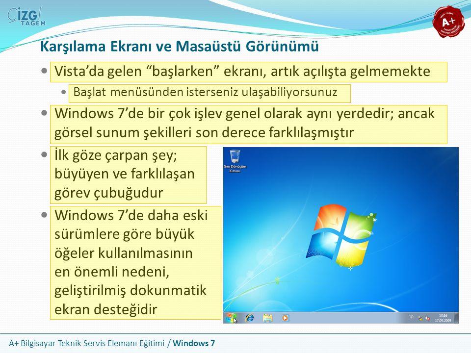 """A+ Bilgisayar Teknik Servis Elemanı Eğitimi / Windows 7 Karşılama Ekranı ve Masaüstü Görünümü Vista'da gelen """"başlarken"""" ekranı, artık açılışta gelmem"""