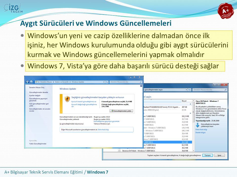 A+ Bilgisayar Teknik Servis Elemanı Eğitimi / Windows 7 Aygıt Sürücüleri ve Windows Güncellemeleri Windows'un yeni ve cazip özelliklerine dalmadan önc