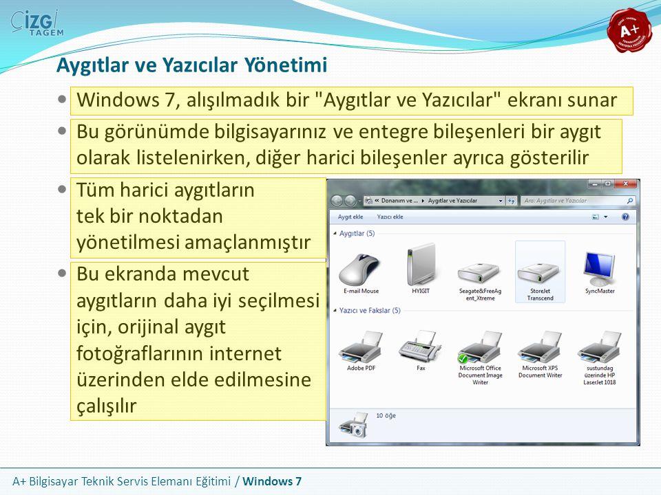 A+ Bilgisayar Teknik Servis Elemanı Eğitimi / Windows 7 Aygıtlar ve Yazıcılar Yönetimi Windows 7, alışılmadık bir