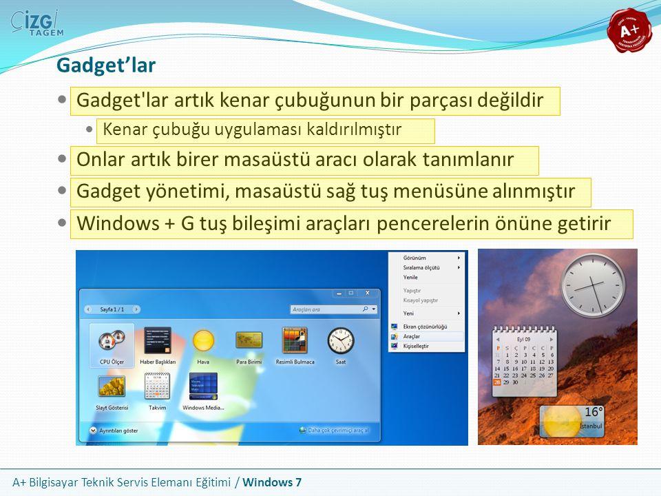 A+ Bilgisayar Teknik Servis Elemanı Eğitimi / Windows 7 Gadget'lar Gadget'lar artık kenar çubuğunun bir parçası değildir Kenar çubuğu uygulaması kaldı