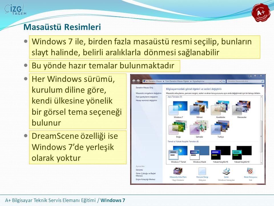 A+ Bilgisayar Teknik Servis Elemanı Eğitimi / Windows 7 Masaüstü Resimleri Windows 7 ile, birden fazla masaüstü resmi seçilip, bunların slayt halinde,