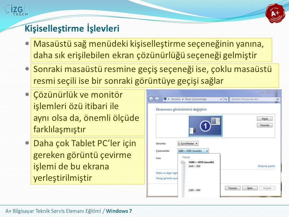 A+ Bilgisayar Teknik Servis Elemanı Eğitimi / Windows 7 Kişiselleştirme İşlevleri Masaüstü sağ menüdeki kişiselleştirme seçeneğinin yanına, daha sık e