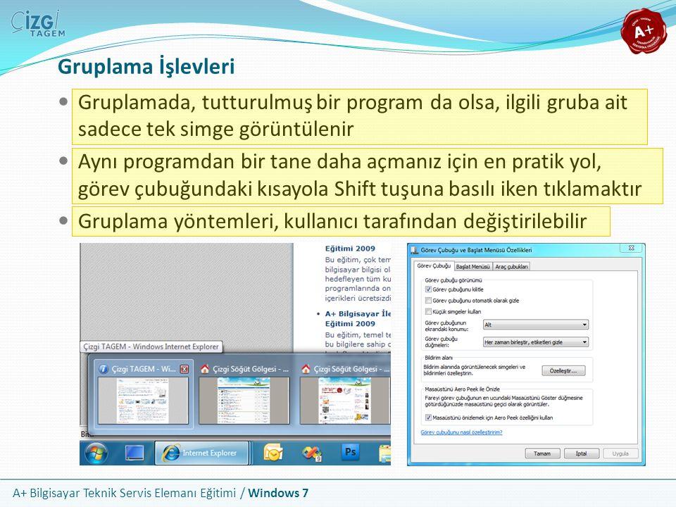 A+ Bilgisayar Teknik Servis Elemanı Eğitimi / Windows 7 Gruplama İşlevleri Gruplamada, tutturulmuş bir program da olsa, ilgili gruba ait sadece tek si