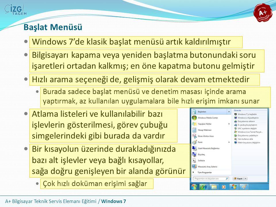 A+ Bilgisayar Teknik Servis Elemanı Eğitimi / Windows 7 Başlat Menüsü Windows 7'de klasik başlat menüsü artık kaldırılmıştır Bilgisayarı kapama veya y
