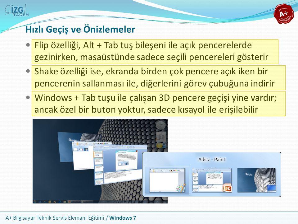 A+ Bilgisayar Teknik Servis Elemanı Eğitimi / Windows 7 Hızlı Geçiş ve Önizlemeler Flip özelliği, Alt + Tab tuş bileşeni ile açık pencerelerde gezinir