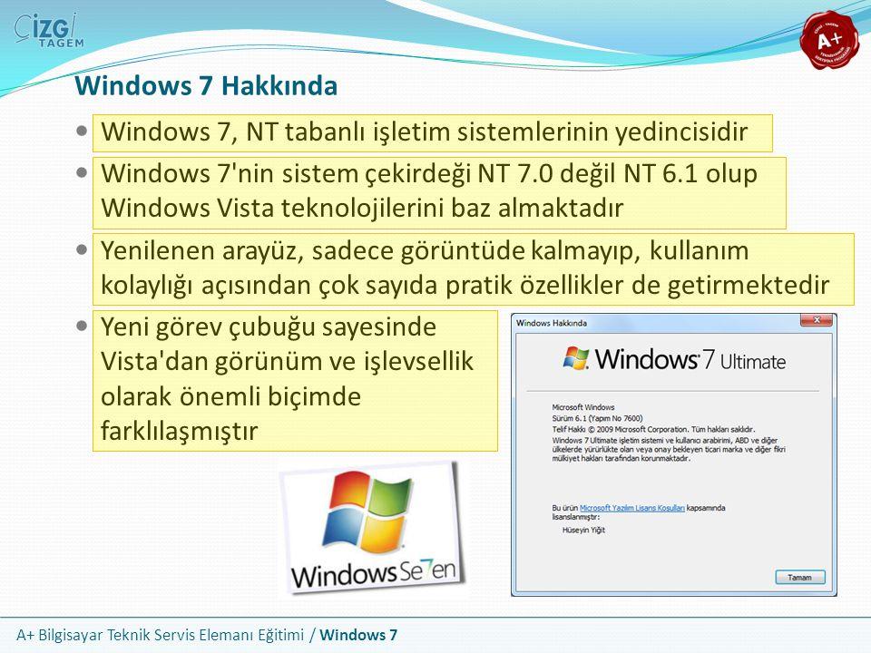 A+ Bilgisayar Teknik Servis Elemanı Eğitimi / Windows 7 Windows 7 Hakkında Windows 7, NT tabanlı işletim sistemlerinin yedincisidir Windows 7'nin sist