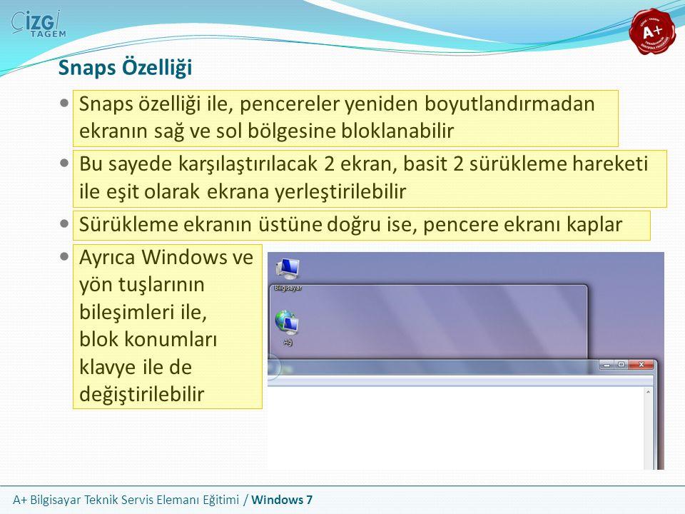 A+ Bilgisayar Teknik Servis Elemanı Eğitimi / Windows 7 Snaps Özelliği Snaps özelliği ile, pencereler yeniden boyutlandırmadan ekranın sağ ve sol bölg