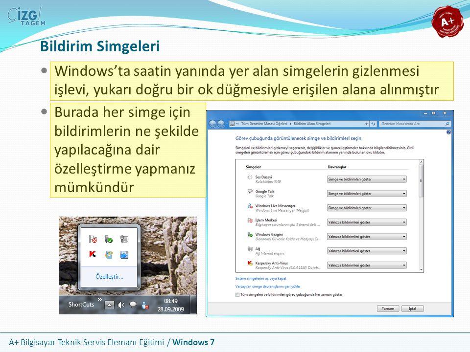 A+ Bilgisayar Teknik Servis Elemanı Eğitimi / Windows 7 Bildirim Simgeleri Windows'ta saatin yanında yer alan simgelerin gizlenmesi işlevi, yukarı doğ