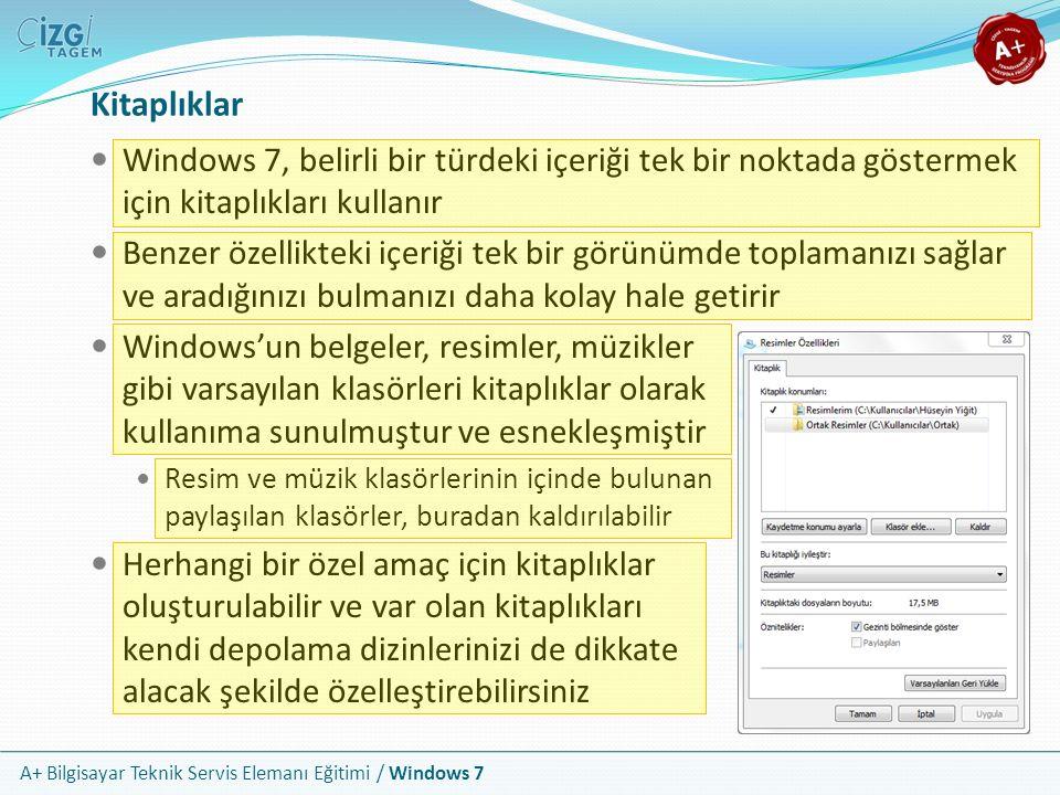 A+ Bilgisayar Teknik Servis Elemanı Eğitimi / Windows 7 Kitaplıklar Windows 7, belirli bir türdeki içeriği tek bir noktada göstermek için kitaplıkları