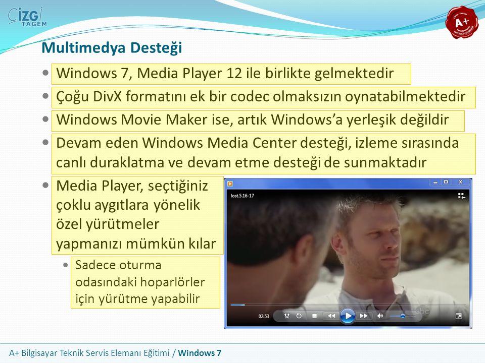 A+ Bilgisayar Teknik Servis Elemanı Eğitimi / Windows 7 Multimedya Desteği Windows 7, Media Player 12 ile birlikte gelmektedir Çoğu DivX formatını ek